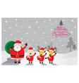 Santa with Dog and Reindeer vector image