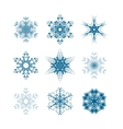 Set of snowflakes icons isolated on white vector image