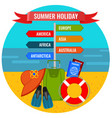 summer holiday direction sign with destination vector image
