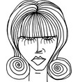 beautiful woman face sketch vector image vector image