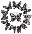 butterflies silhouette for tattoo vector image