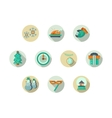 Christmas attributes round flat icons set vector image