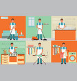 house husband cleaning vector image
