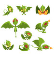 set of cartoon green baby dragon character in vector image