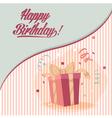 Retro vintage happy birthday card with gifts vector image vector image