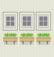 Closed Windows With Pot Plants Below vector image