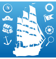 sailing silhouette vector image