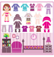 paper doll with a set of clothes and a room vector image vector image
