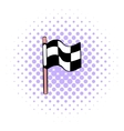Racing checkered flag icon comics style vector image