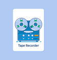 reel tape recorder icon on blue backgroundmodern vector image