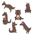 Set funny kangaroos vector image