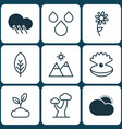set of 9 nature icons includes oak seashell vector image