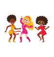 set of cartoon style retro disco dancers black vector image