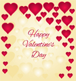 Valentines day gold and red hearts greeting card vector image