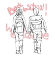 sketch pupils boy and girl with schoolbag and text vector image