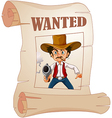 Cowboy Wanted Poster vector image vector image