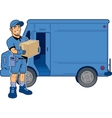 Express Delivery Man and Truck vector image