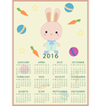 Calendar for 2016 with cartoon and funny bunny vector image
