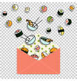 meal rolls sushi set in paper mail envelope vector image
