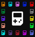 Tetris icon sign Lots of colorful symbols for your vector image