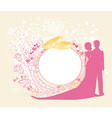 Card with love couple and floral arch designed for vector image