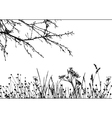 grass tree silhouette details are separated vector image