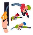 filling gasoline station pistol in people hands vector image