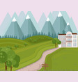 hotel facade in the middle of the mountains vector image