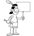 Cartoon American Indian Holding a Sign vector image