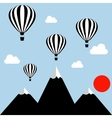 aerostats flying in the sky over the mountains at vector image