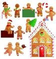 set christmas cookies gingerbread man and girl vector image