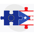 European Union and Puerto Rico Flags vector image