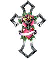 cross with rose tattoo vector image vector image