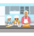 Grandmother and kids bake together at a kitchen vector image