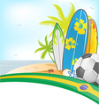 brazil summer background with surfboard and soccer vector image