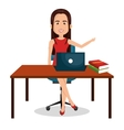 character woman working workplace design graphic vector image