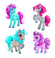 cute cartoon little horses set vector image