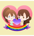 cute cartoon or mascot lesbian woman lover in vector image