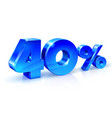 glossy blue 40 forty percent off sale isolated vector image