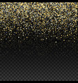 gold glitter falling confetti on a dark checkered vector image