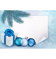 Holiday blue background with Christmas sheet of vector image