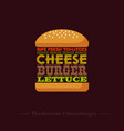 lettering cheeseburger recipe infographic vector image