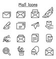 mail icon set in thin line style vector image