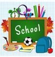 school supplies on sheet of paper vector image