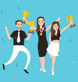 success winner team get award prize three people vector image