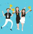 success winner team get award prize three people vector image