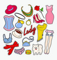 woman fashion clothes and accessories vector image