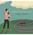 Boy managing cars on the radio control vector image