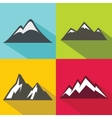 Mountain flat icons with long shadow on color vector image