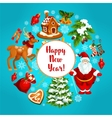 Happy New Year greeting poster vector image vector image